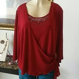 C.O.C. Wrap front left side red blouse
